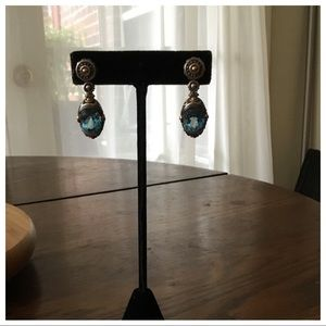 "Vintage Sterling Silver Topaz Drop Earrings.1"""